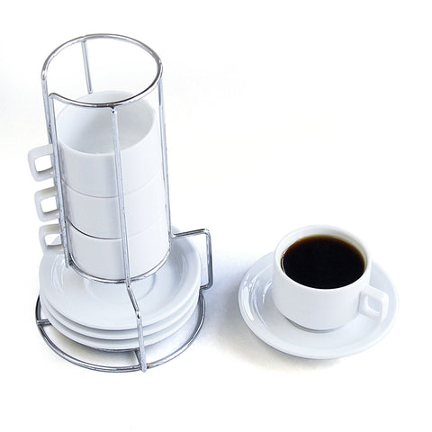 Harold HIC 9-Piece Stackable Espresso Coffee Tea Set, Fine White Porcelain, Set Includes 4 (4-Ounce) Cups with Matching Saucers and Metal Stand, Gift Boxed - DimpzBazaar.com