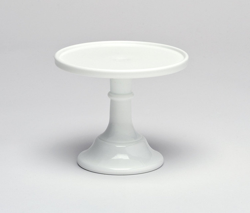 "Mosser Glass Milk White 9"" Glass Cake Stand - Made in the USA By Mosser Glass - DimpzBazaar.com"