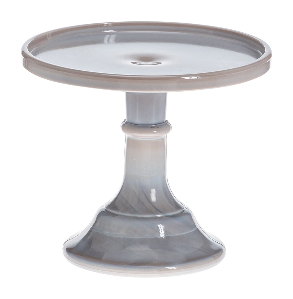"Mosser Glass Mosser Glass 6"" Footed Cake Plate Stand - Gray Marble - DimpzBazaar.com"