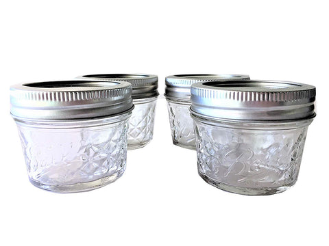 Ball Mason Ball Jelly Jars-4 oz. each - Quilted Crystal Style-Set of 4 - DimpzBazaar.com