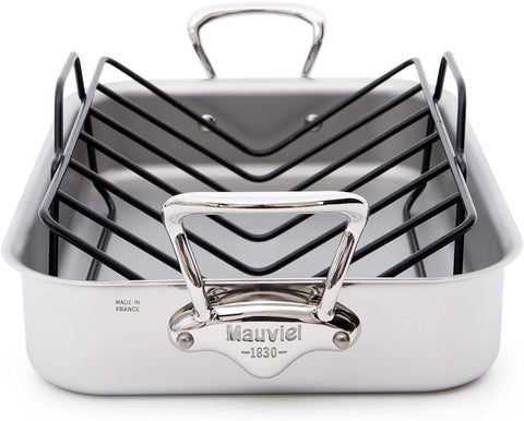 Mauviel Mauviel Made In France M'Cook 5 Ply Stainless Steel 5217.15 15.7 by 11.8-Inch Rectangular Roasting Pan and Rack with Cast Stainless Steel Handles - DimpzBazaar.com