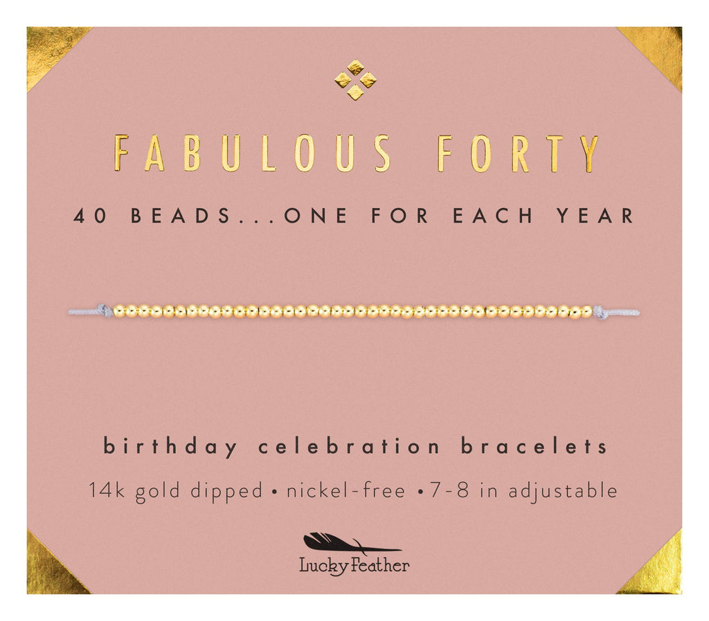 "Lucky Feather Lucky Feather 40th Birthday Gifts for Women, 14K Gold Dipped Beads Bracelet on Adjustable 7""- 8"" Cord - Perfect 40th Birthday Gift Ideas for Her - DimpzBazaar.com"
