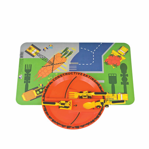 Constructive Eating Constructive Eating - Construction Combo with Utensil Set, Plate, and Placemat - DimpzBazaar.com