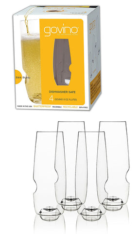 Govino The govino Dishwasher Safe Champagne Flutes Flexible Shatterproof Recyclable, 8-ounce, Set of 4 - DimpzBazaar.com