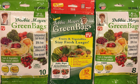 Debbie Meyer Debbie Meyer GreenBags - 30 Bags Combo (12 Medium +10 Large +8 XL) - 3 Sets of Freshness-Preserving Food/Flower Storage Bags - DimpzBazaar.com