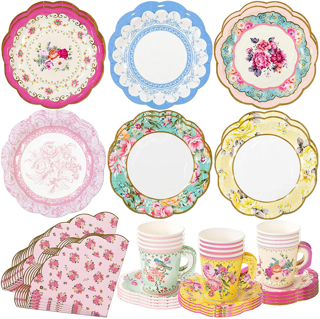 Talking Tables Talking Tables Vintage Floral Tea Party Supplies | Scalloped Paper Plates, Napkins, Tea Cups and Saucer Sets | Also Great for Wedding Parties, Bridal Shower, Baby Shower and Birthday Party - DimpzBazaar.com