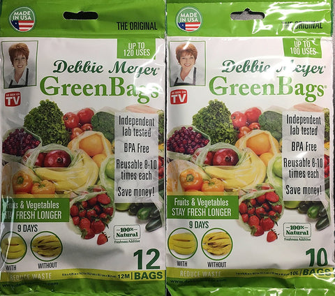 Debbie Meyer Debbie Meyer GreenBags - 22 Bags (12 Medium +10 Large) - 2 Sets of Freshness-Preserving Food/Flower Storage Bags - DimpzBazaar.com