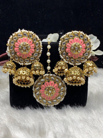 Dimpz Bazaar Dimpz Indian Jewelry Kundan Ear Rings - DimpzBazaar.com