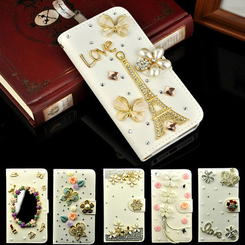 Luxury Handmade Stand Flip Leather Diamond Flower Wallet Case For apple iphone 5C