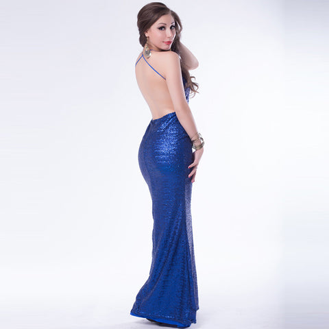 Evening Backless Sequined Shining Strappy Long Dress