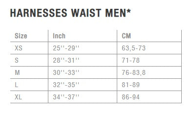 ION Mens Harness Size Chart - Poole Harbour Watersports