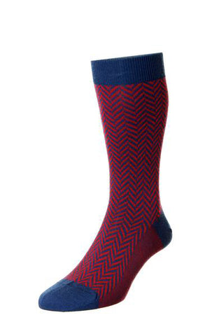 J SHOES MENS HATTON RED & DARK BLUE HERRINGBONE SOCKS - MADE IN ENGLAND