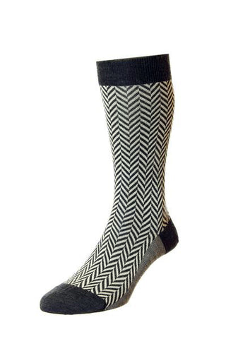 J SHOES MENS HATTON CHARCOAL & CREAM HERRINGBONE SOCKS - MADE IN ENGLAND