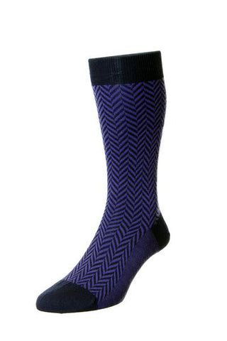 J SHOES MENS HATTON PURPLE HERRINGBONE SOCKS - MADE IN ENGLAND