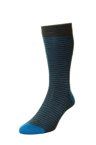 J SHOES MENS STOCKWELL BLUE STRIPED MERINO WOOL SOCKS