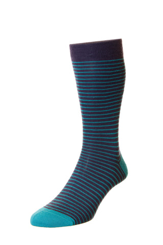 MENS STOCKWELL AQUA GREEN BLUE STRIPED SOCKS