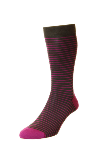 J SHOES  MENS STOCKWELL CHOCOLATE MAGENTA STRIPED SOCKS