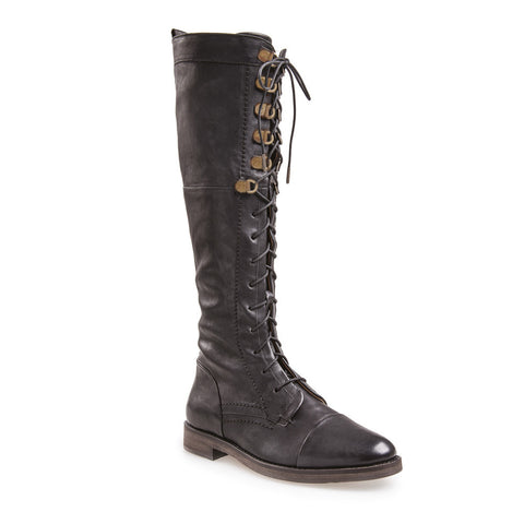 J SHOES WOMEN'S CARI BLACK LACE UP TALL LEATHER BOOT