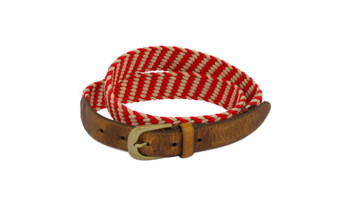 J SHOES MENS RED WOVEN ELASTIC AND LEATHER BELT