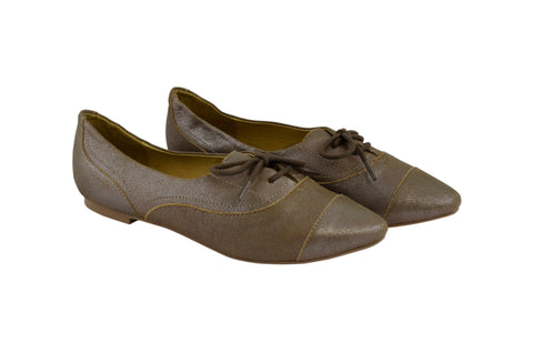 J SHOES WOMEN'S BELSIZE BROWN SILVER LEATHER BALLET PUMP