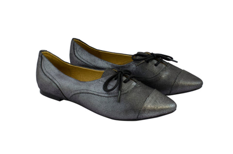 J SHOES WOMEN'S BELSIZE BLACK SILVER LEATHER BALLET PUMP