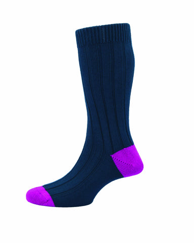 MENS OXFORD NAVY RIBBED SOCKS