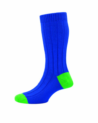 MENS OXFORD ROYAL BLUE RIBBED SOCKS