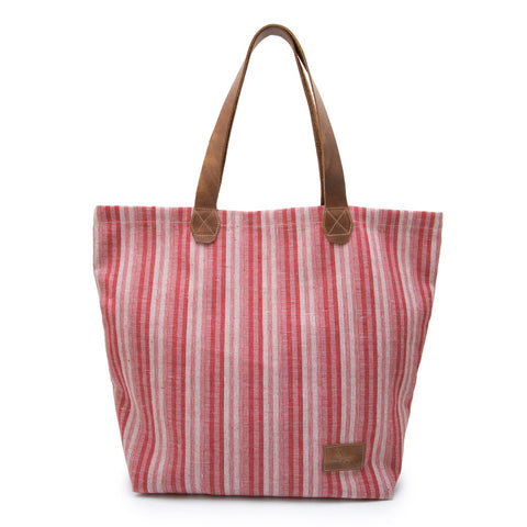 J SHOES RED/WHITE FABRIC TOTE BAG