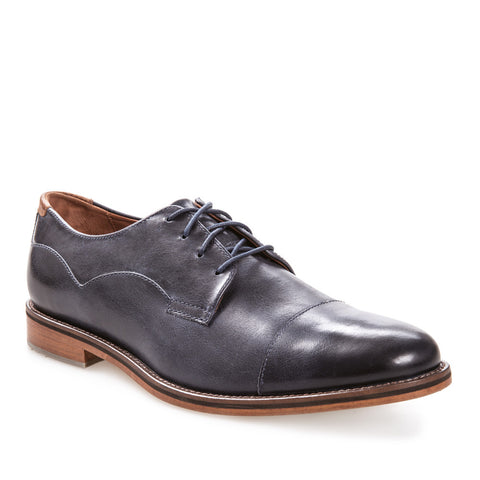 J SHOES MEN'S INDI MIDNIGHT NAVY LEATHER DERBY SHOE
