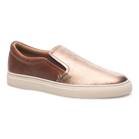 J SHOES WOMENS POVEY COGNAC & BRONZE LEATHER SLIP ON TRAINER
