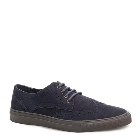 J SHOES MEN'S WARNER NAVY SUEDE BROGUE TRAINER