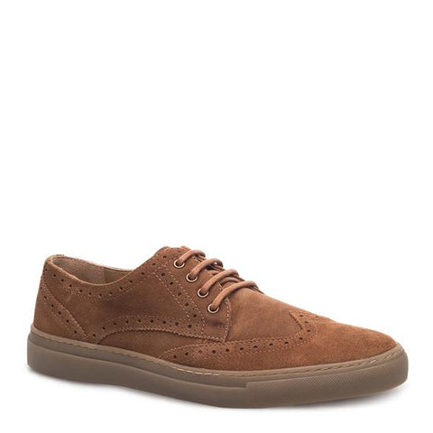 J SHOES MEN'S WARNER BRANDY SUEDE BROGUE TRAINER