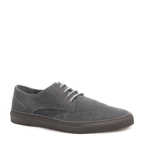 J SHOES MEN'S WARNER MAGNET GREY SUEDE BROGUE TRAINER