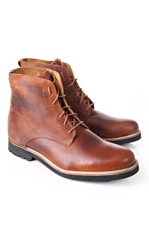 J SHOES MEN'S TANNER TAN LEATHER LACE UP BOOT