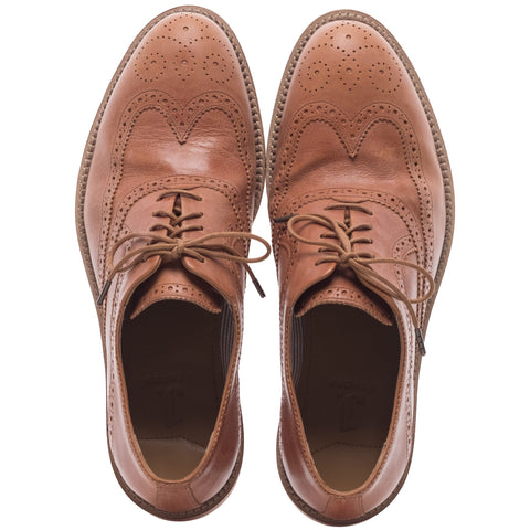 J SHOES MEN'S SPENCER TAN BROWN LEATHER OXFORD BROGUE SHOE