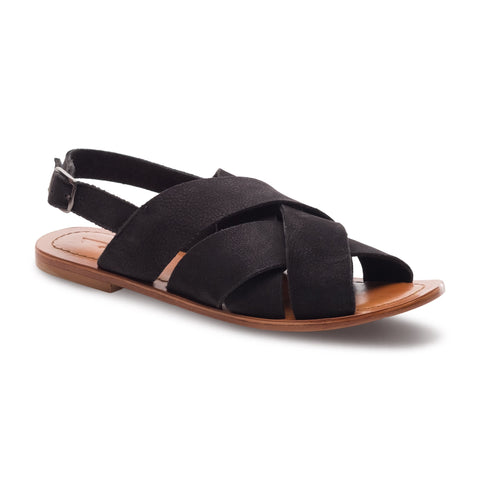 J SHOES WOMEN'S CELINE BLACK SUEDE LEATHER SANDAL