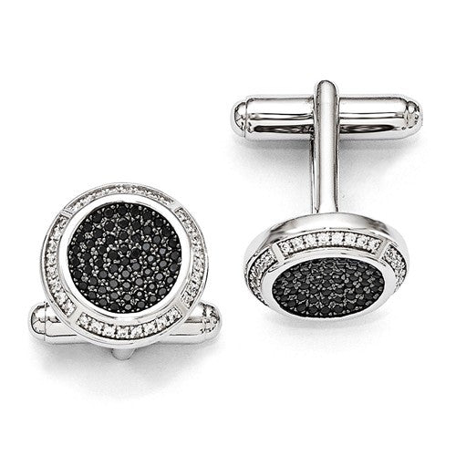 Sterling Silver And CZ Brilliant Embers Cuff Links