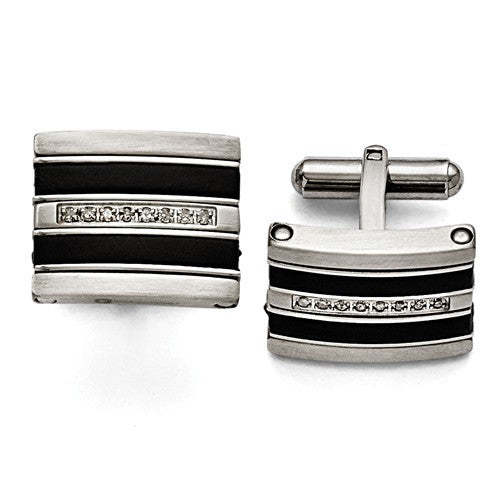Stainless Steel Polished/Brushed Black Rubber 0.15ct. Diamond Cuff Link