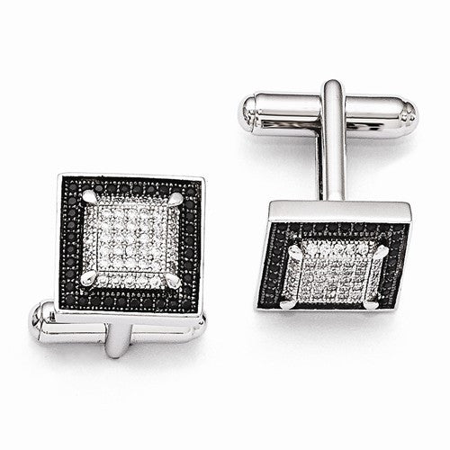 Sterling Silver & Diamond/Black CZ Combo Cuff Links