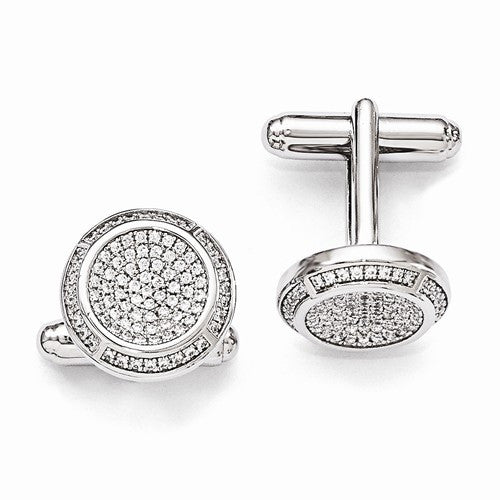 Round Sterling Silver And Diamond Cuff Links