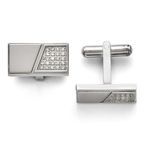 Stainless Steel Polished With Real Diamonds Cuff Links