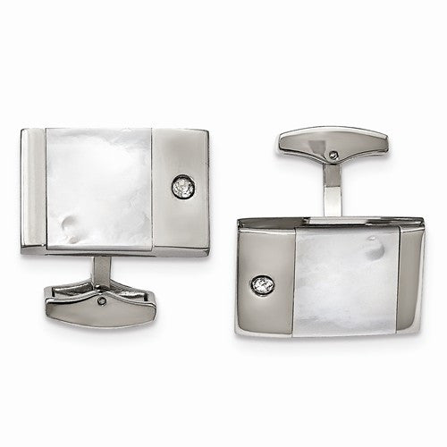 Stainless Steel Polished Mother Of Pearl Cuff Links with Real Diamonds