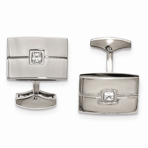 Stainless Steel Polished Cuff Links with Real Diamonds