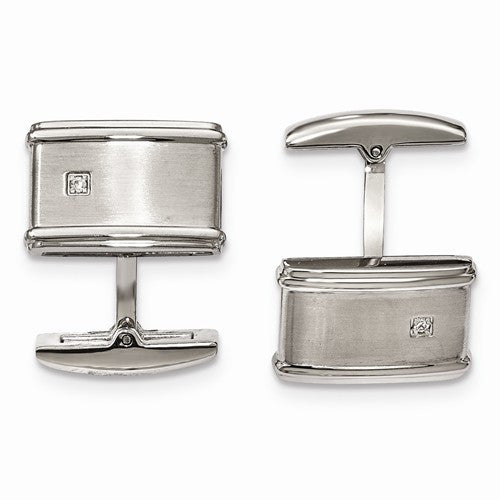 Stainless Steel Brushed/Polished Cuff Links with Real Diamonds