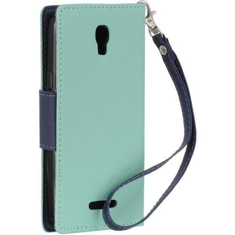 Alcatel 5017E One Touch Elevate Luxmo Diary Wallet Pouch - Navy Blue / Teal