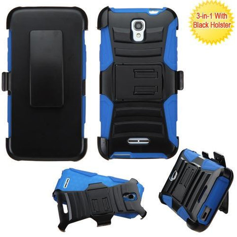 Alcatel 5017 OneTouch Elevate Advanced Armor Stand Protector Cover (w/ Holster) -  Black/ Blue