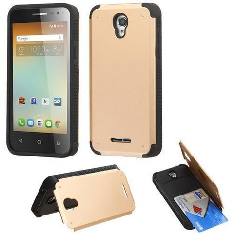 Alcatel 5017 One Touch Elevate Inverse Advanced Armor Stand Protector Cover - Gold (w/ Card Wallet)