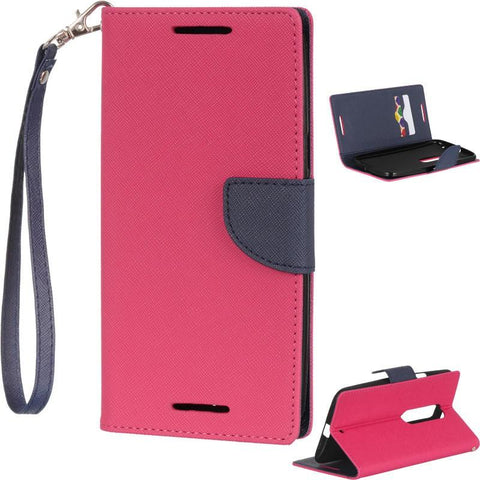 Motorola Moto X Style (Pure Edition) Luxmo Diary Wallet Pouch - Hot Pink / Navy Blue