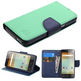 Alcatel 5017 One Touch Elevate MyBat MyJacket Wallet - Teal Green Pattern / Dark Blue Liner