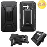 Alcatel 5054 OneTouch Fierce XL Advanced Armor Stand Protector Cover (w/  Holster) - Black / Black